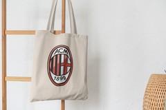 Сумка-шоппер с принтом FC ACM Milan (ФК Милан) бежевая 002