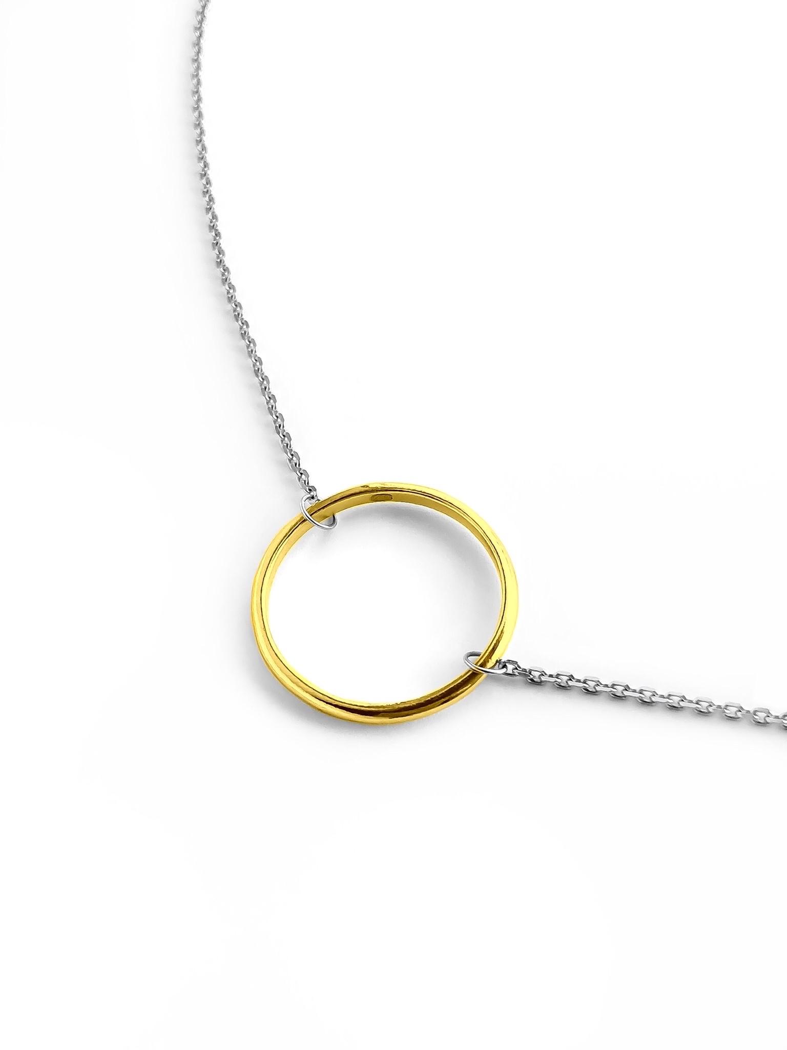 Серебряное колье  с позолоченным кольцом, 20 мм