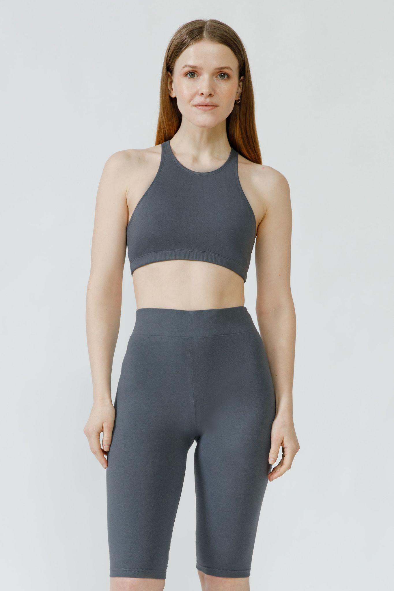 Топ для йоги с перекрестами темно-серый