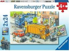 Puzzle Müllabfuhr u.Abschleppw.2 2x24 pcs