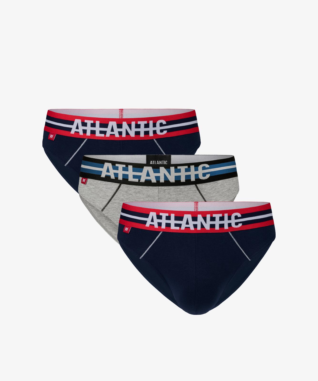 Мужские трусы слипы спорт Atlantic, набор 3 шт., хлопок, темно-синие + серый меланж, 3SMP-001