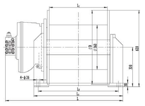 Гидравлическая лебедка IYJ4-50-92-18-ZP (схема 1)