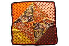 Итальянский платок из шелка коричневый в горошек 0078
