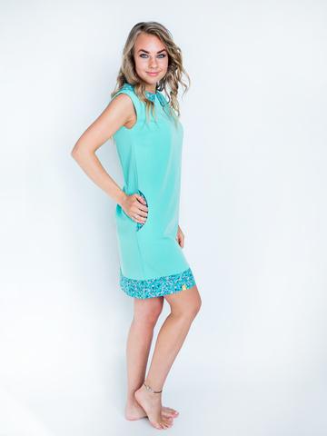 Платье мятное с изумрудным воротником