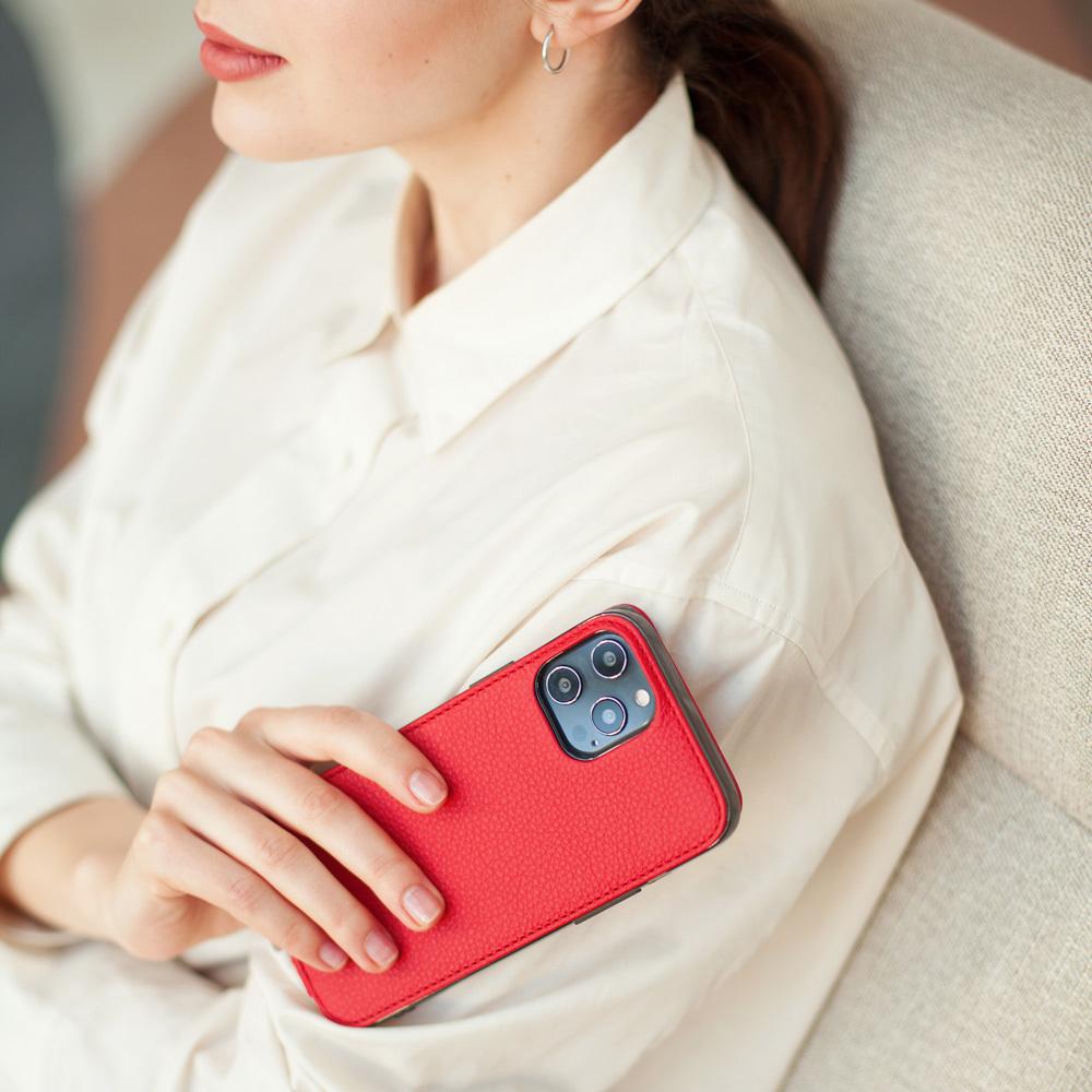 Чехол для iPhone 12 Pro Max из натуральной кожи теленка, красного цвета