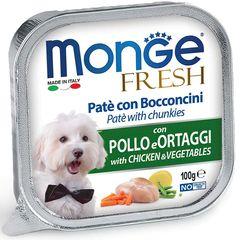 Консервы для собак, Monge Dog Fresh, с курицей и овощами