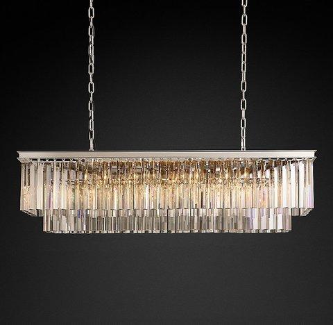 Подвесной светильник копия 1920s Odeon Clear Glass Fringe Rectangular Chandelier 49