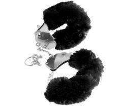 Металлические наручники Furry Love Cuffs с черным мехом