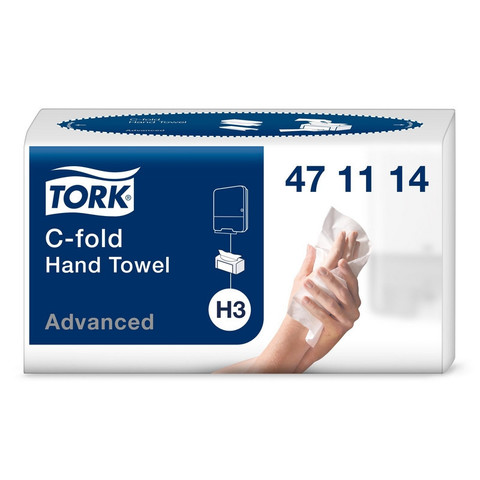 Полотенца бумажные листовые Tork Advanced Н3 С-сложения 2-слойные 120 листов (артикул производителя 471114)