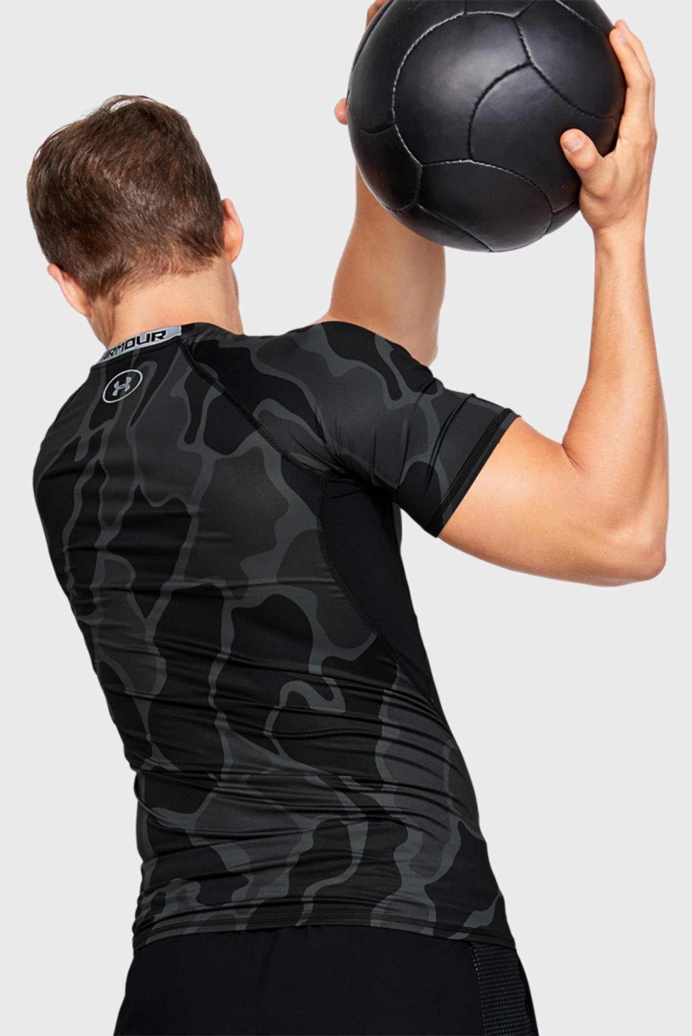 Мужская черная спортивная футболка UA HG ARMOUR SS NOV Under Armour