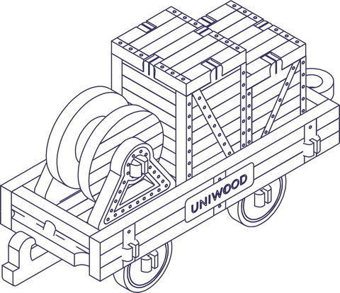 Вагончик с платформой (UNIWOOD) - Миниатюрный деревянный конструктор, 3D пазл, сборная модель