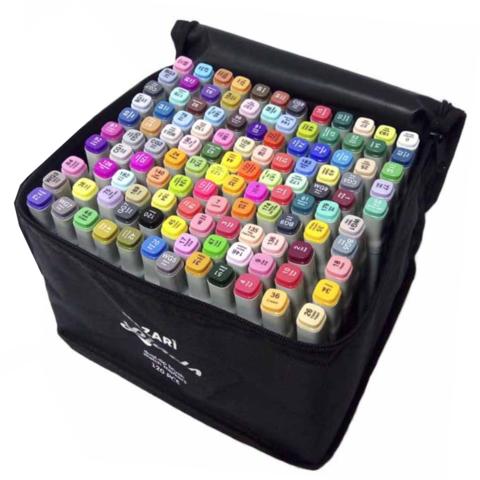 Mazari Lindo набор маркеров для скетчинга 120 шт двусторонние спиртовые кисть/долото 1.0-6.2 мм (вкл. блендер)