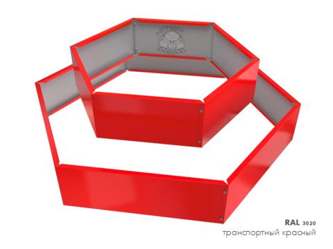Клумба многоугольная оцинкованная 2 яруса RAL 3020 Транспортный красный