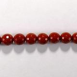 Бусина из яшмы красной, фигурная, 8 мм (шар, граненая)