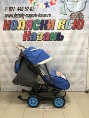 Санки коляски GALAXY CITY 1-1 «синий с медведем» с надувными колёсами