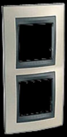 Рамка на 2 поста, вертикальная. Цвет Опал-графит. Schneider electric Unica Top. MGU66.004V.295
