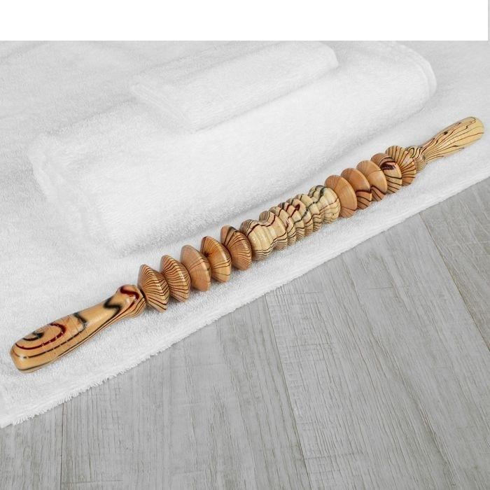 """Массажёр деревянный для спины """"Разминочная скалка"""""""