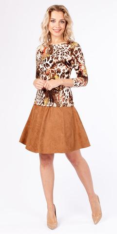 Фото модная юбка-полусолнце длиной до колена на молнии - Юбка Б045-376 (1)
