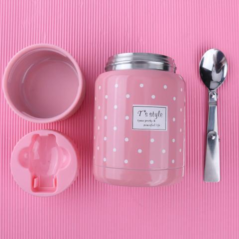 Термос для еды Shows c ложкой 350 мл розовый