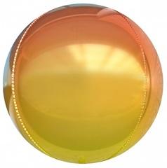 К Сфера 3D, Омбре, Оранжево-желтый, Градиент, 24''/61 см, 1 шт.