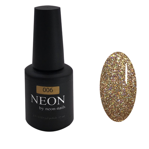 NEON , гель-лак Gold GLITTER № 006 , (12 ml) золотой с мелким шиммером