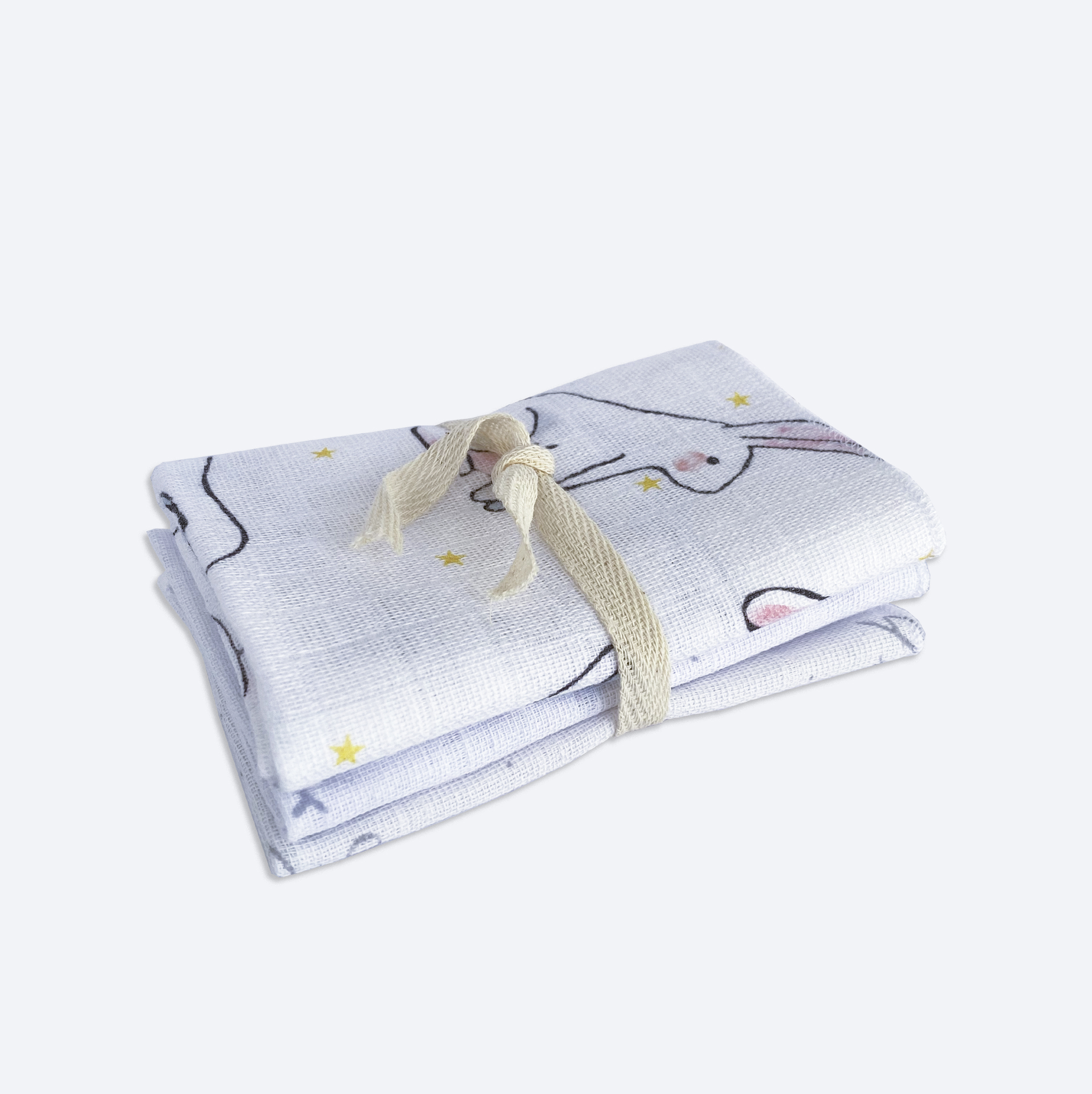 Сет из 3х муслиновых салфеток Mjölk Заиньки/Глазки/Hello mommy