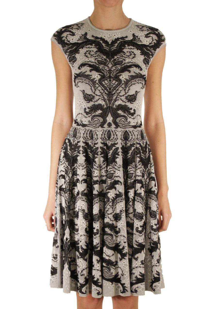 Платье из вискозы и шелка ALEXANDER MCQUEEN