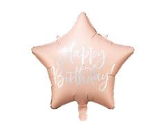 Звезда, Happy birthday, бледно-розовый, 40 см, 1 шт.
