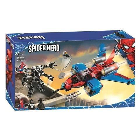 Конструктор Super Heroes Spider Man Реактивный самолёт Человека-Паука против Робота Венома 11500, 389 дет.