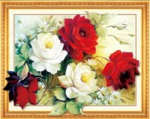 Алмазная Мозаика 5D 40x50 Белые и красные цветы (арт.HZ8010)