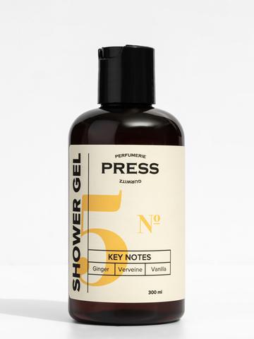 PRESS GURWITZ PERFUMERIE Гель для душа №5 Имбирь, Ваниль, Вербена, натуральный, парфюмированный, бессульфатный, 300 мл