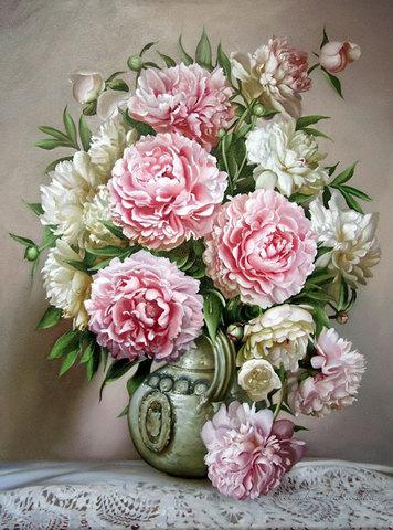 Алмазная Мозаика 40x50 Нежные пионы в белой вазе