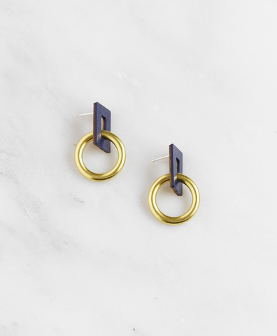 Серьги Mini Etta Earrings in Midnight Blue