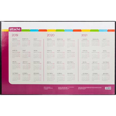 Коврик на стол Attache 380x590 мм с календарем на 3 года черный (с прозрачным верхним листом)