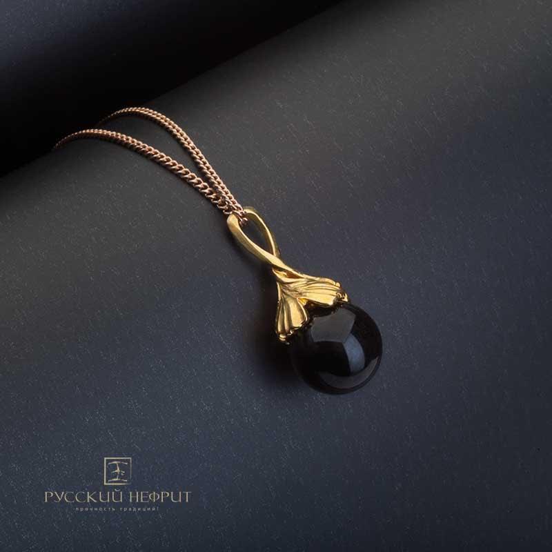 Кулоны Подвес из черного нефрита Лист Гингко позолоченный Кулон-гингко-черный.jpg