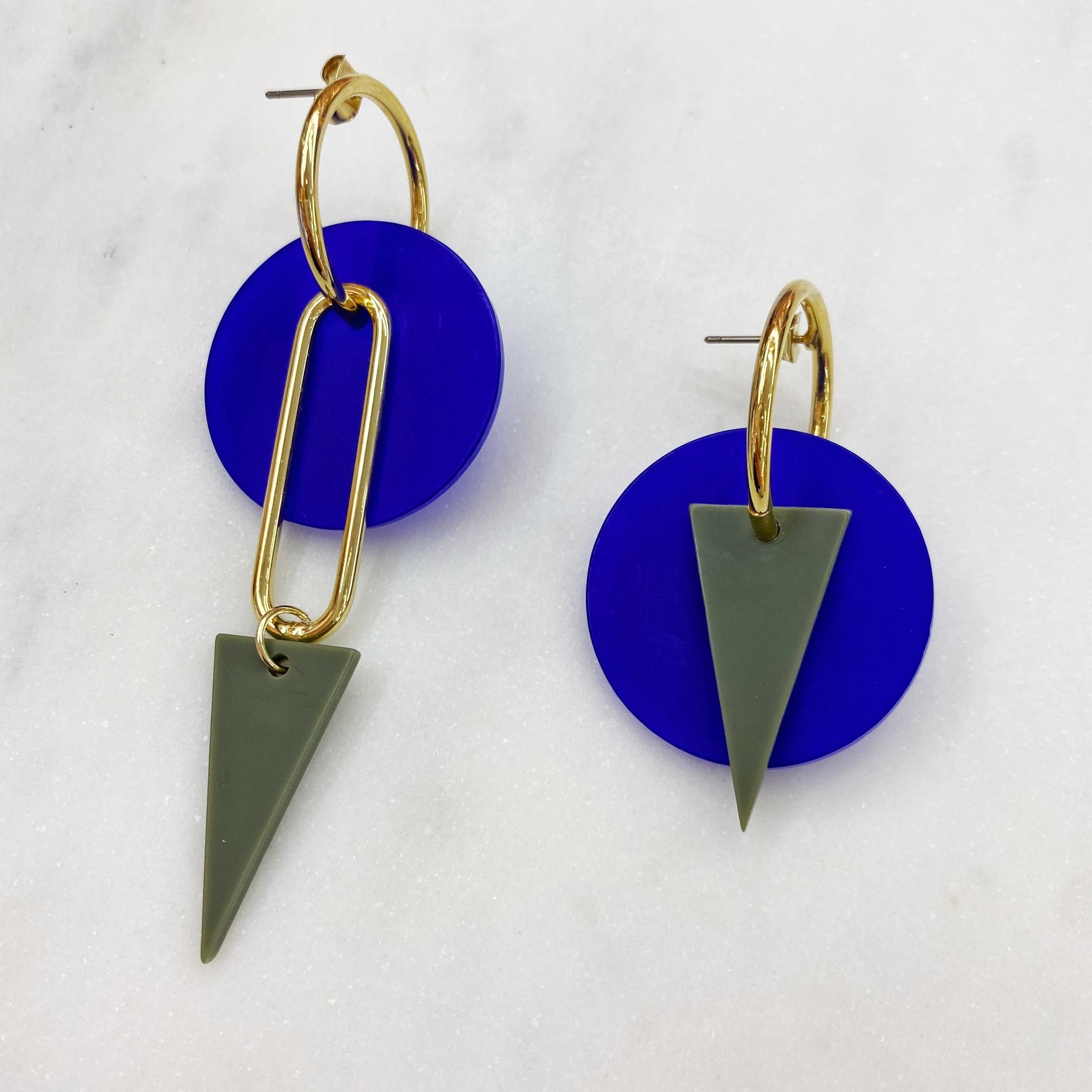 Серьги с акриловыми геометрическими подвесками (синий, зеленый)