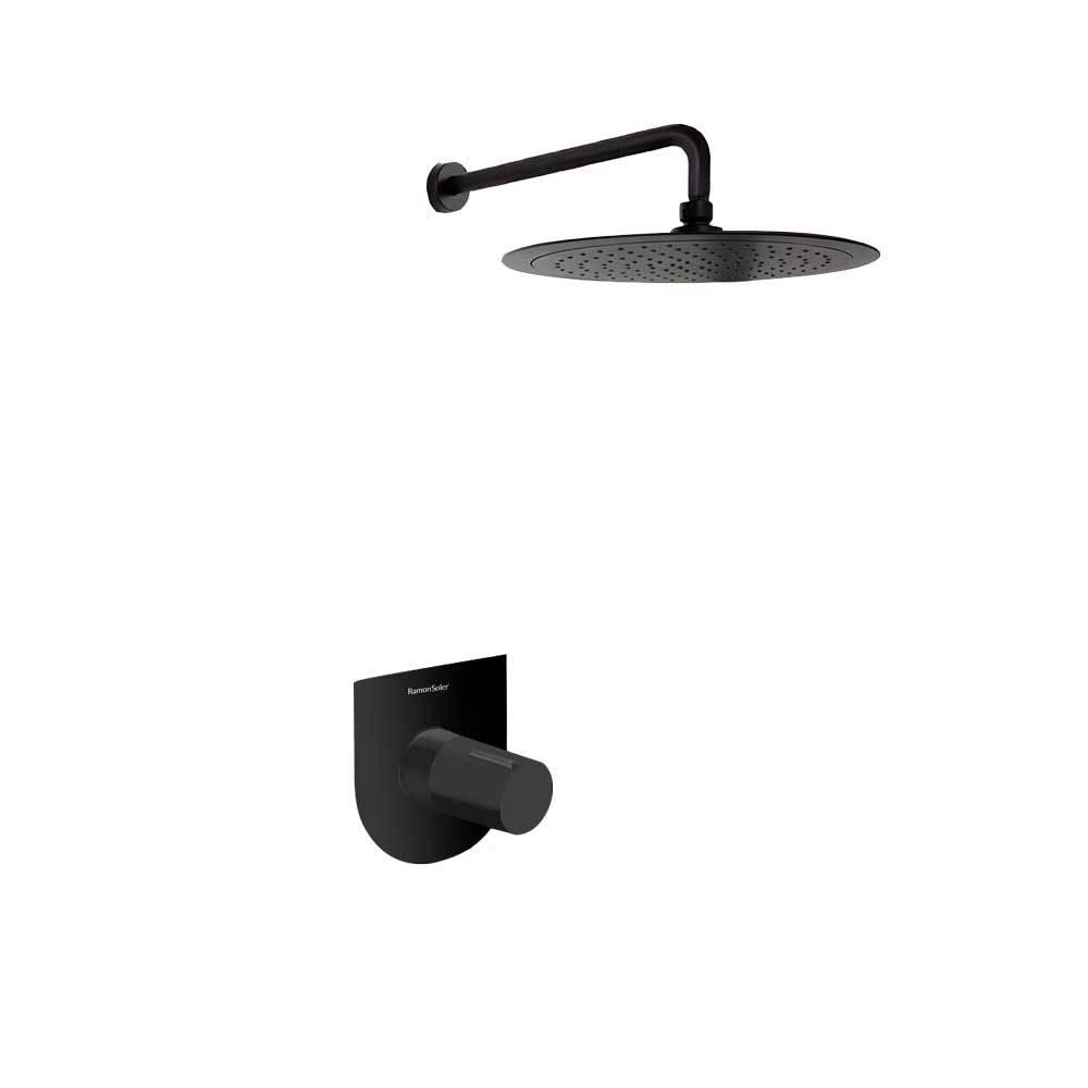 Встраиваемый смеситель для душа с душевым комплектом TZAR K3418012NM черный, на 1 выход