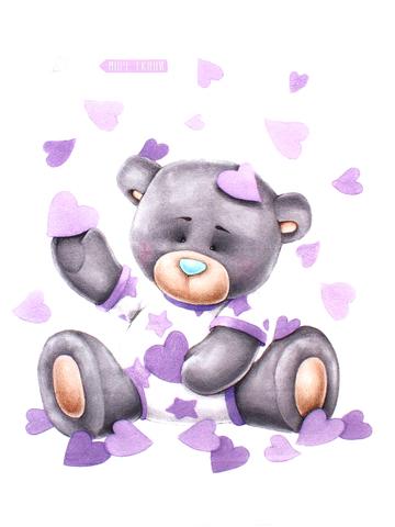 Панель(купон) мишка,фиолет. фон-75*100 см