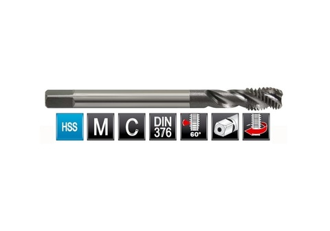 Метчик М12х1,75 (Машинный, спиральный) DIN376 2N(6h) C2,5P HSS L110мм Bucovice(CzTool) 106120