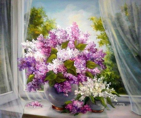 Алмазная Мозаика 40x50 Букеты цветов на окне (арт. MGL3319 )