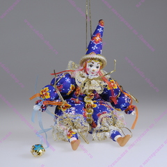 Ёлочная игрушка сидячий клоун
