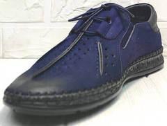 Летние мужские мокасины на лето туфли Luciano Bellini 91268-S-321 Black Blue.