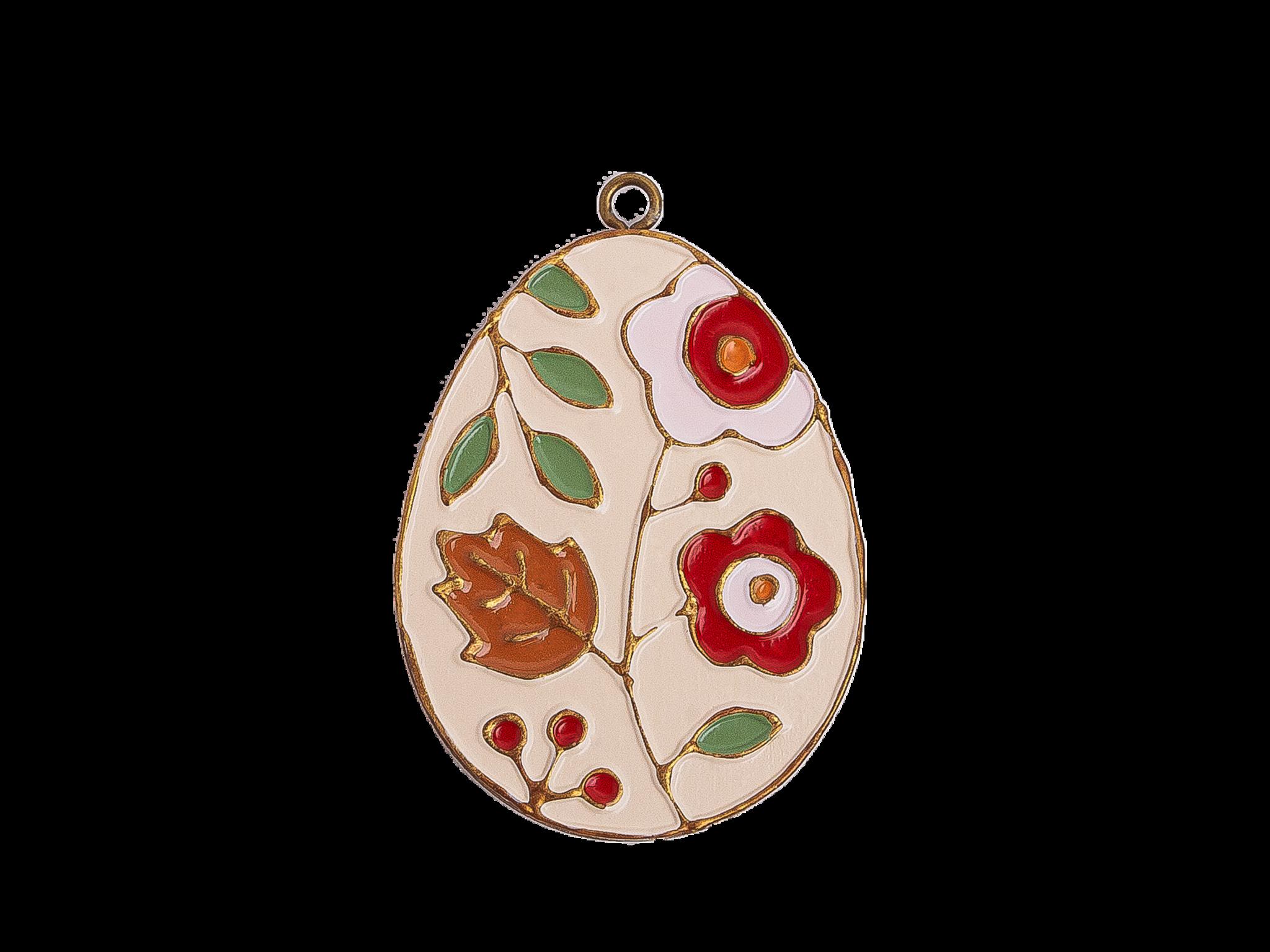 Пасхальное украшение Яйцо с Цветами, цвет: античный белый