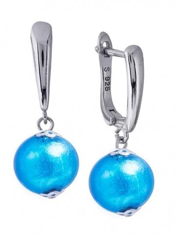 Серьги Примавера голубые на серебряных швензах