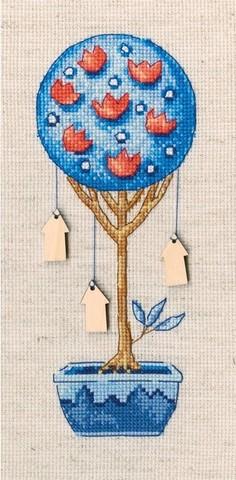 Топиарий-дерево счастья (7*17,5, Аида 16, Льняная)