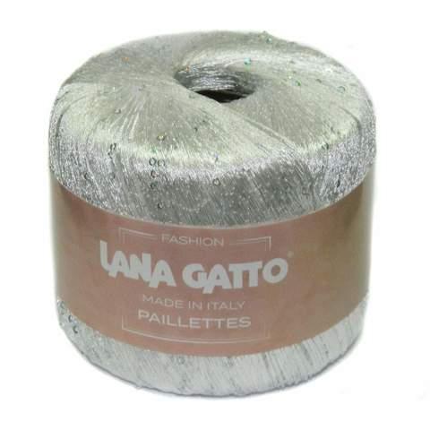 Пряжа Lana Gatto Paillettes 8599 белый