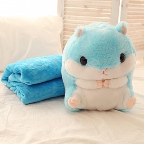 Игрушка Хомяк с пледом 3 в 1 (хомяк-подушка) Голубой