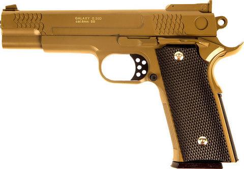 Страйкбольный пистолет Galaxy G.20D Browning металлический, пружинный