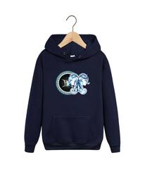 Толстовка темно-синяя с капюшоном (худи, кенгуру) и принтом Знаки Зодиака, Близнецы (Гороскоп, horoscope) 001