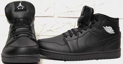 Зимние кроссовки мужские найк джордани Nike Air Jordan 1 Retro High Winter BV3802-945 All Black